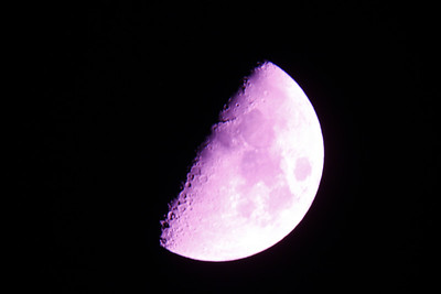 Half Moon shot through Vixen ED80 and a Canon 5D Mark II(modified) on a Celestron AS-GT from Tarzana, CA.